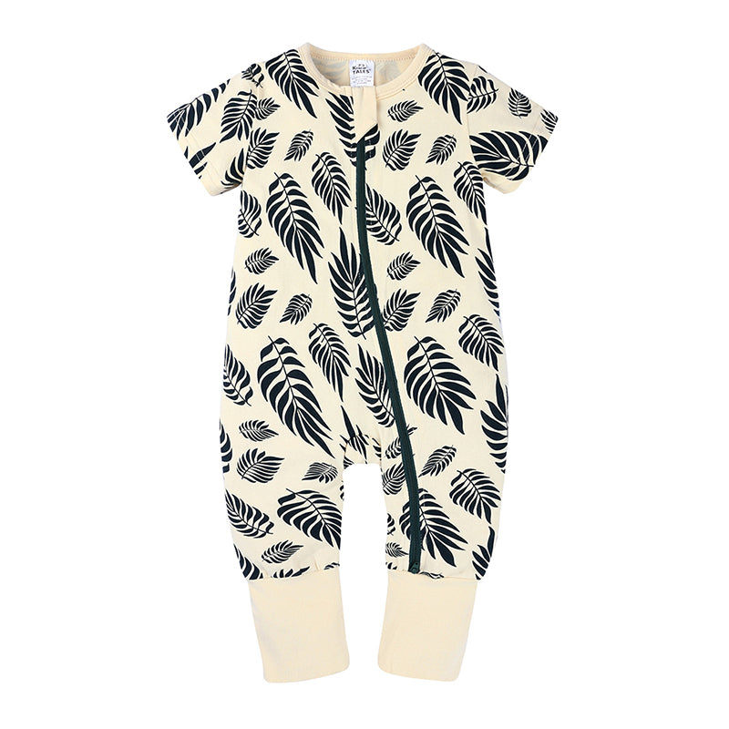Leaf Zipped Short-sleeve Bodysuit
