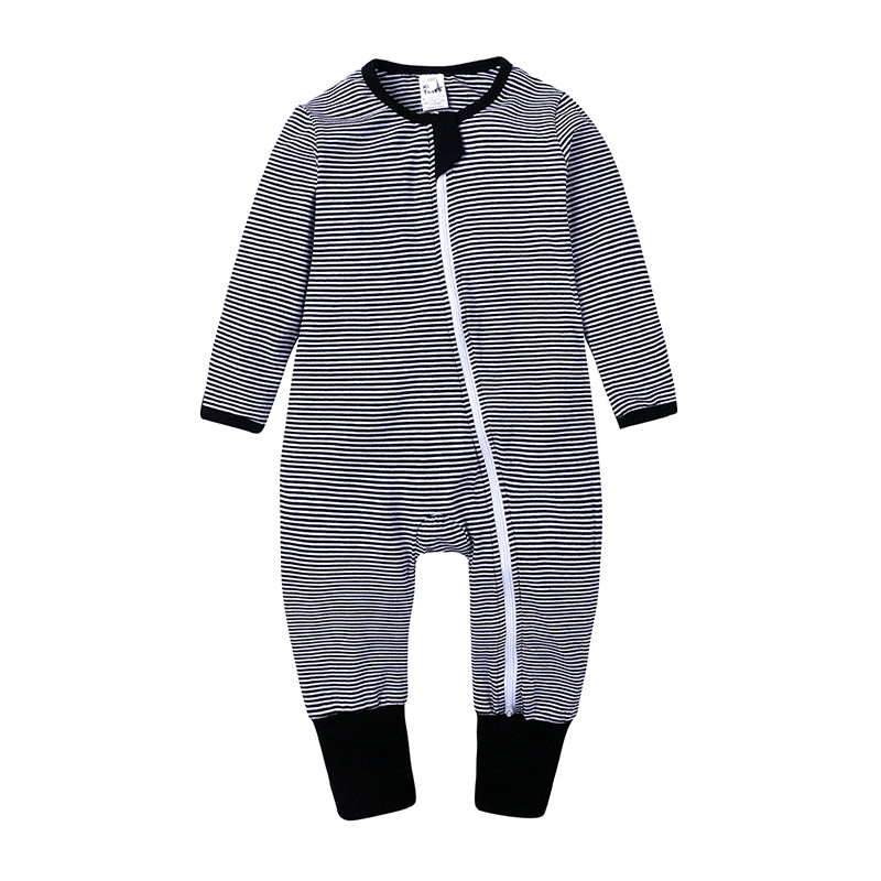 Black Striped Zipped Long-sleeve Bodysuit