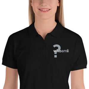 Who Am I? Embroidered Women's Polo Shirt