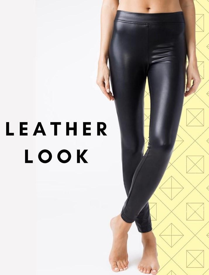 Warm black faux leather Leggings Conte Elegant Slippy
