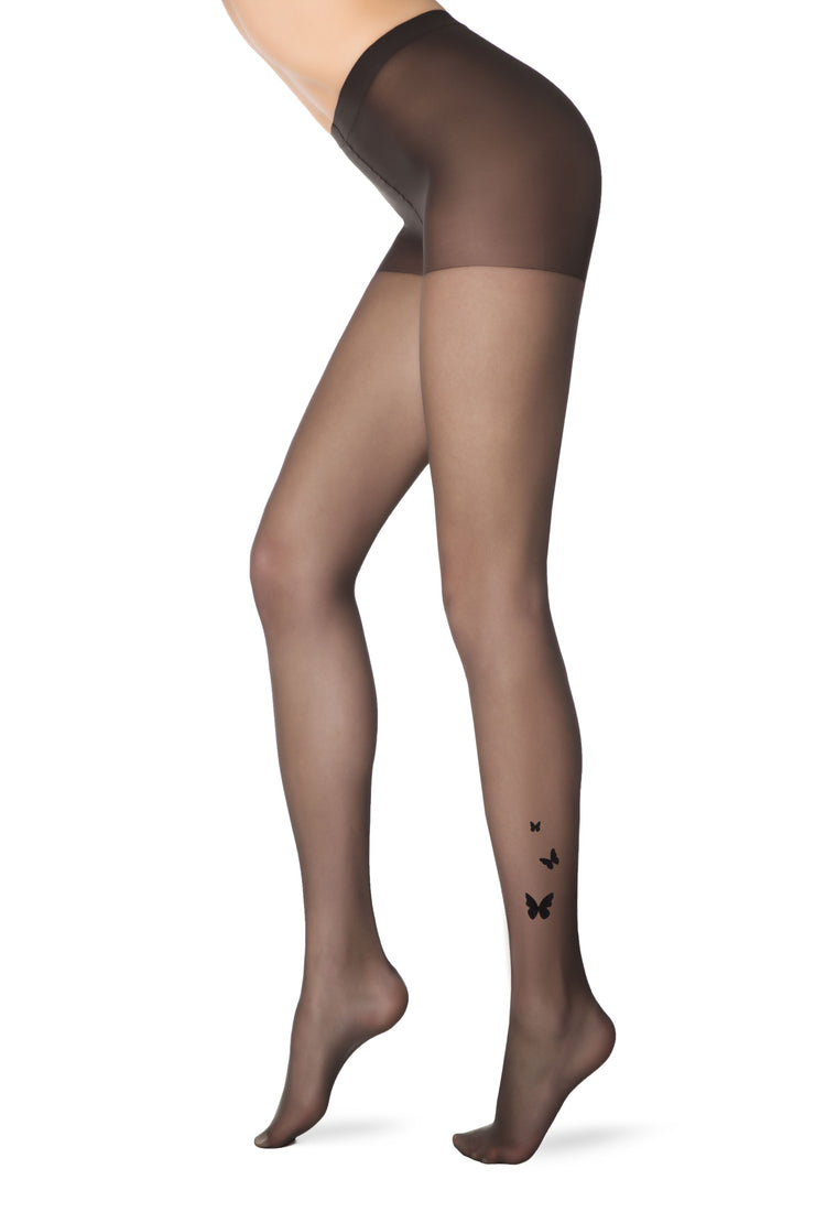 Leg tattoo design patterned 20 denier sheer tights black pantyhose Conte Elegant Butterfly
