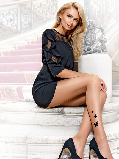 Leg tattoo design patterned tights pantyhose Butterfly by Conte