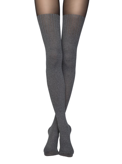 Opaque knee high tights pantyhose with grey stockings Demi by Conte Elegani