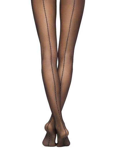 Sheer backseam black tights pantyhose Conte Elegant Insight