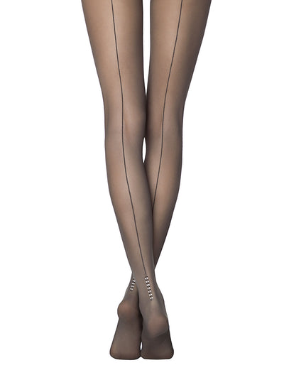 Sheer backseam black tights pantyhose Conte Milano