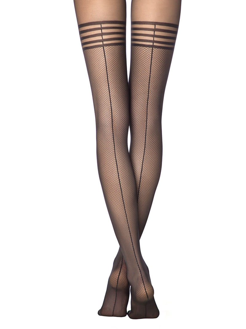 Sheer suspenders sexy stockings hold-ups black tights pantyhose Conte Impress