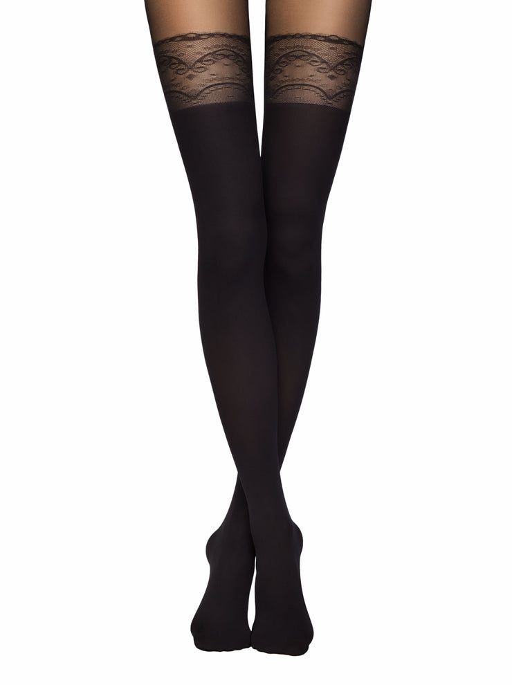 Suspenders stockings hold-ups black tights pantyhose Conte Delight