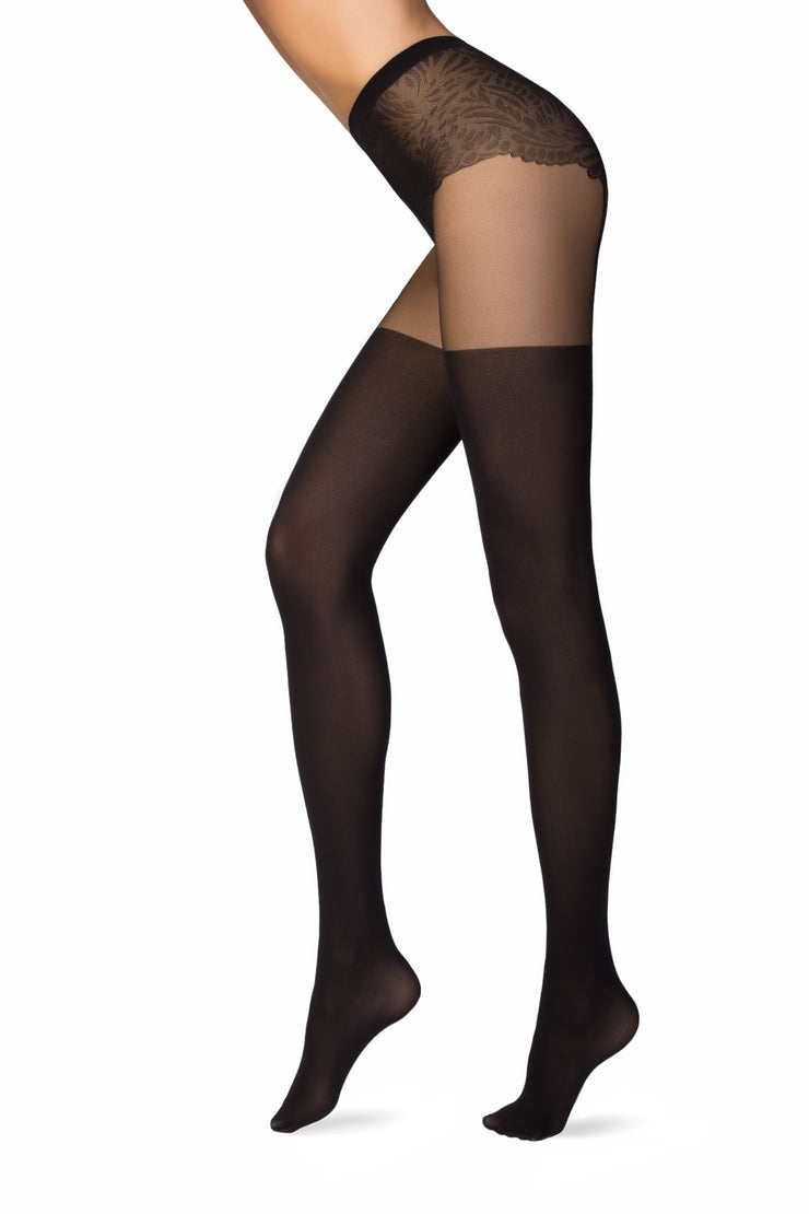 Suspenders sexy stockings black hold-ups tights pantyhose Emotion