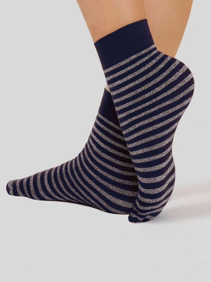 Conte Elegant Women's Glitter Socks with a shiny Lurex stripes, navy color