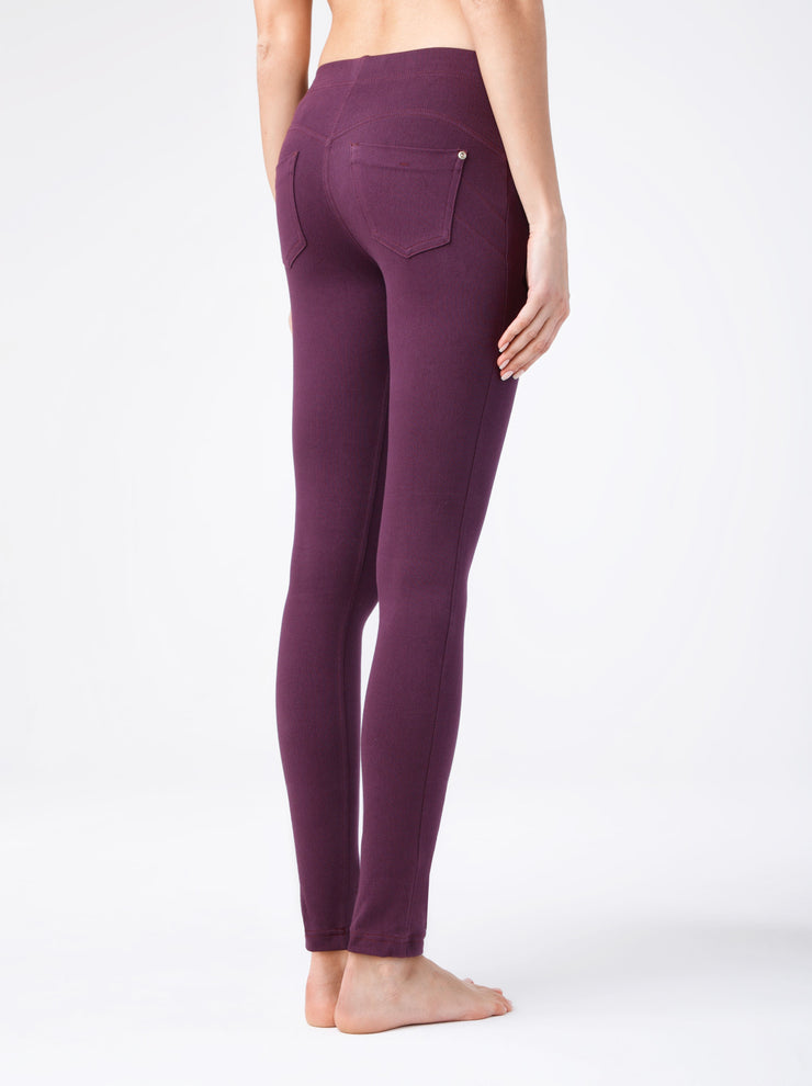 Burgundy leggings best leggings legging push-up Alessandra with pockets by Conte Elegant