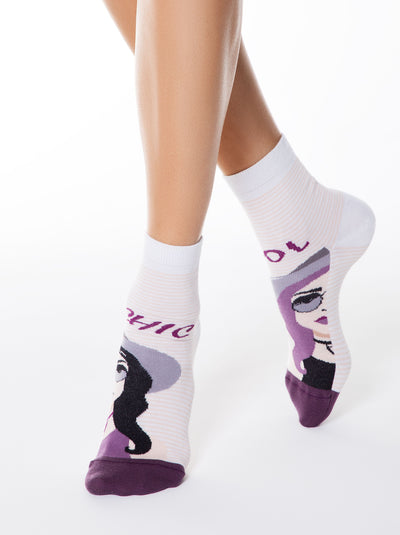 crazy funny happy Socks by Conte Elegant with girl stylish girl pattern