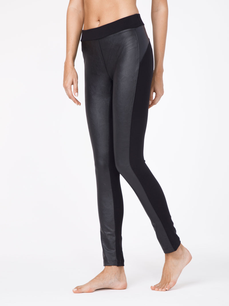 front faux Leather leggings legging with pockets Conte Mystery