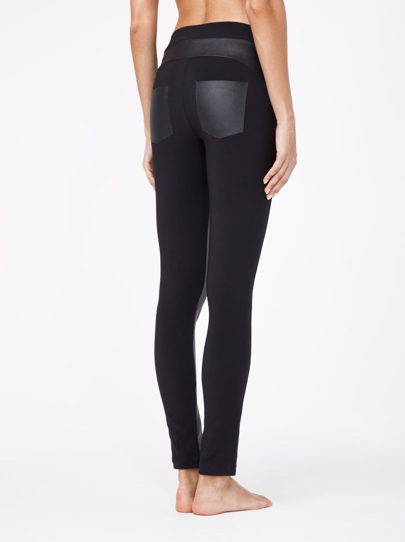 Leather leggings legging with pockets Conte Elegant Mystery