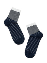 Women's blue striped socks by Conte Elegant. Blue socks with white stripes pattern