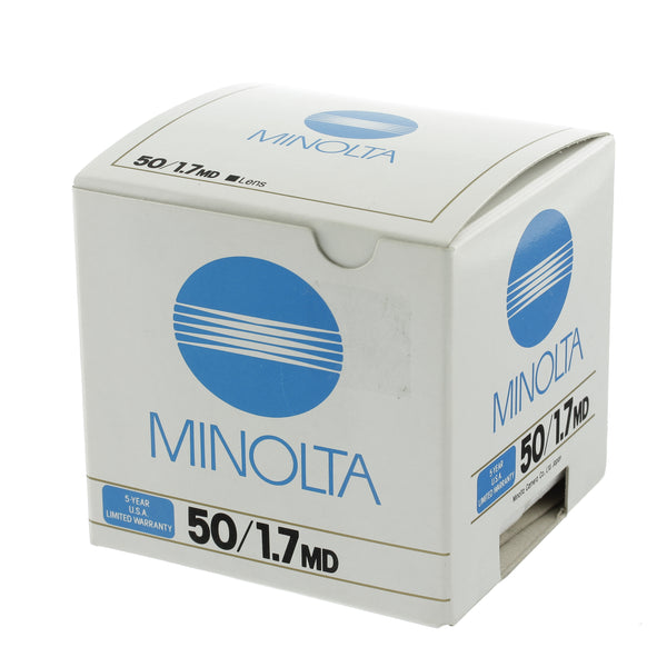 Minolta MD 50mm 1.7 Lens Boxed Mint Condition
