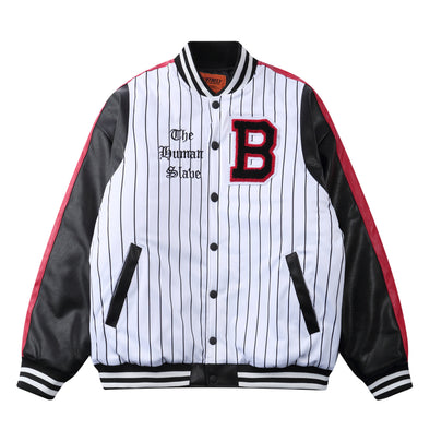 Retro Striped Letterman Jacket