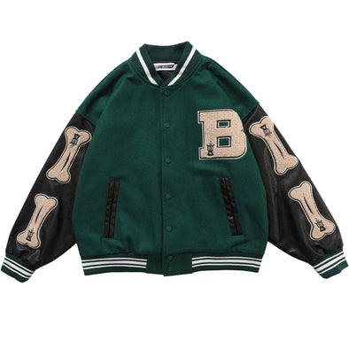 Bone Felt&Leather Letterman Jacket