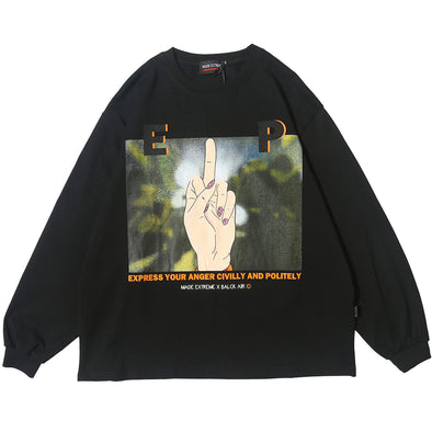 Middle Finger Long Sleeve Tee