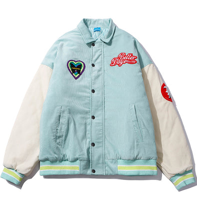 Butterfly Corduroy Letterman Jacket