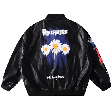 PU DAISY BASEBALL JACKET