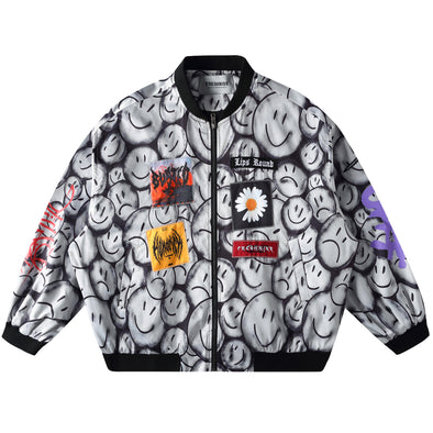 SMILEY PRINT BASEBALL JACKET