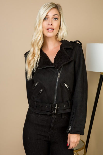 Suede Biker Jacket with Faux Fur Detail