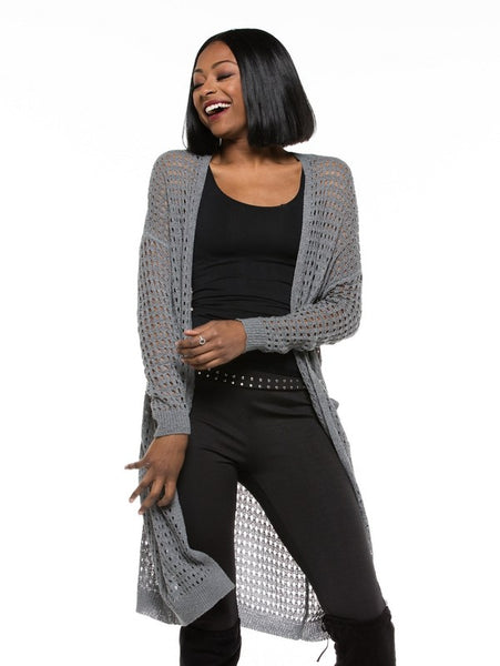 Owning it Long Sleeve Knit Jersey Cardigan Gray