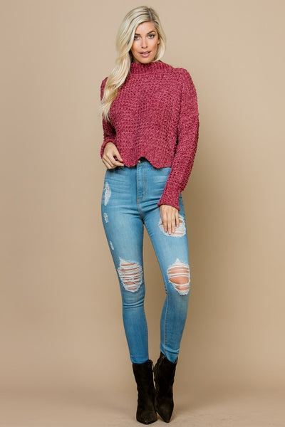 Mesh Fuzzy High Neck Sweater