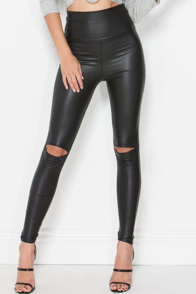 Oops I cut it again Faux Leather Leggings