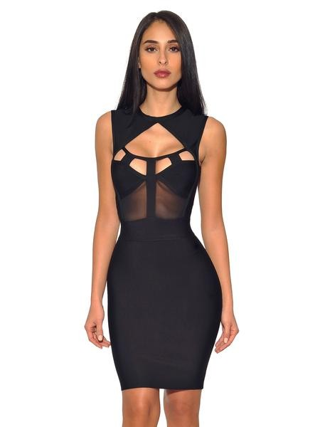 Winsley Sleeveless Black Mesh cutout Bandage Dress