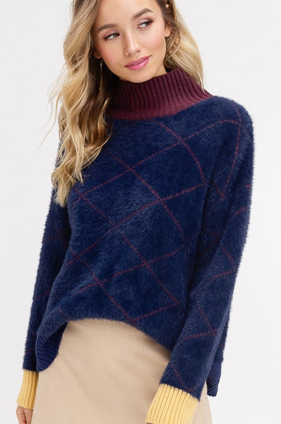 21e50816d76 SOFT FUR COLOR BLOCK RIBBED PULLOVER SWEATER