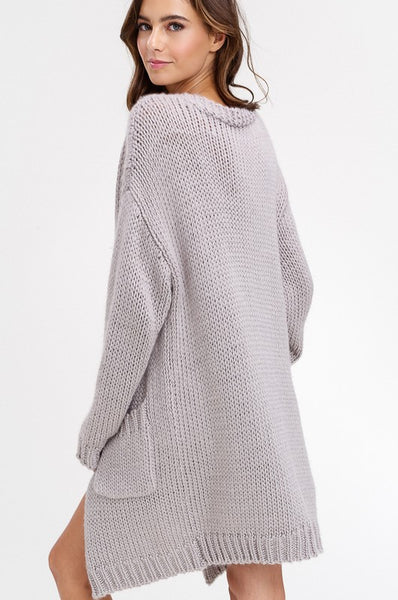 Chunky Knit Open Cardigan Wool Blend