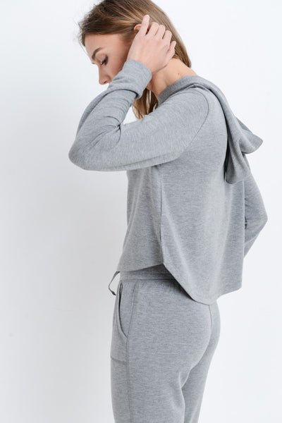 Lounge Now-Sleep Later Two-Tone Crop Hoodie