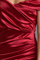Ruby Satin Hi-Low Off the Shoulder Dress
