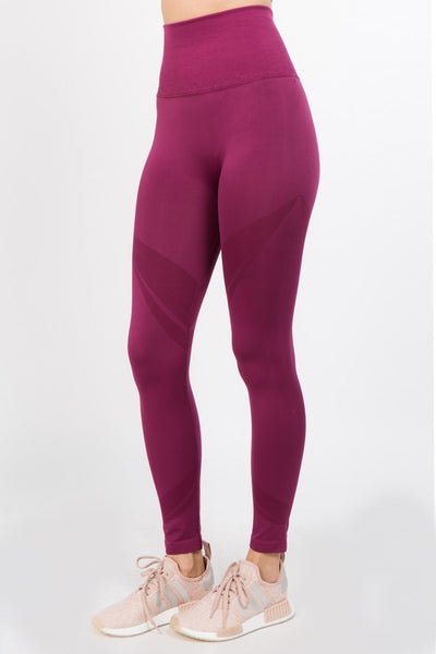 Hold me tight Shadow Stripe Seamless High-Waist Leggings Dark Merlot