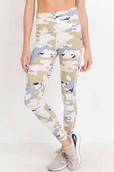 Highwaist Pastel Striped Camo Print Full Leggings