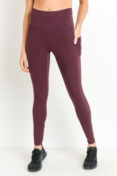 Shirrrrrrr.... High-Waist Leggings Plum