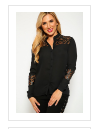 Grace Faux Leather/Lace Insert  Button Top Black