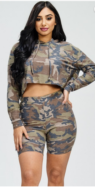 Hoodie or nah Cropped Hoodie and Short 2pc Set