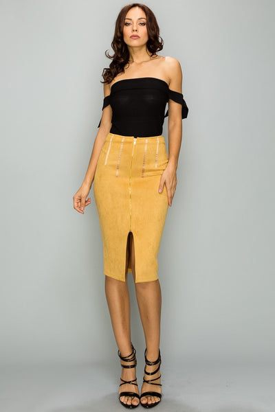 Leslie Faux Suede Zip Front Skirt