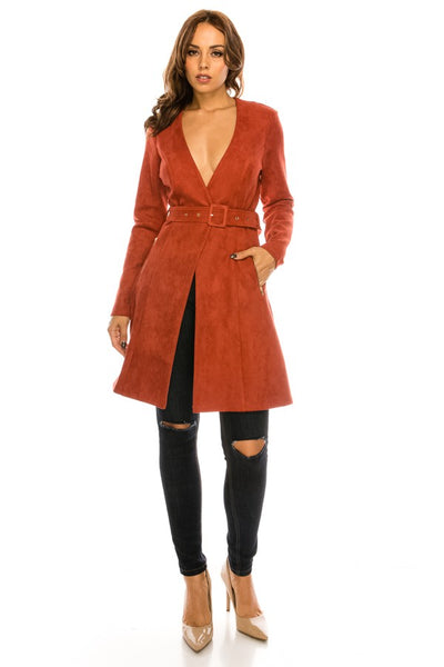 Drea Faux Suede Trench Coat with Belt