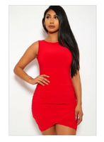 Tammy Ruched Bodycon Dress Red