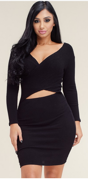 Selena Rib Knit Long Sleeve Dress