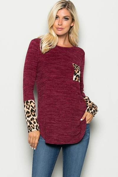 Leopard Cuff Top with Pocket