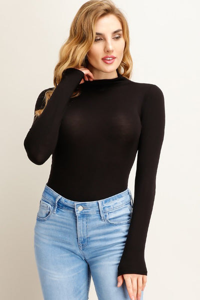 Solid Long Sleeve Mock Neck Bodysuit