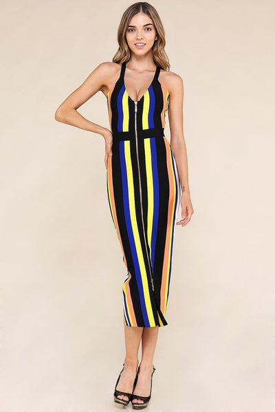 Multi Striped Midi Dress
