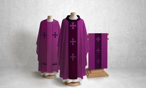 376 Crucifixion Lectern Hanging in Purple