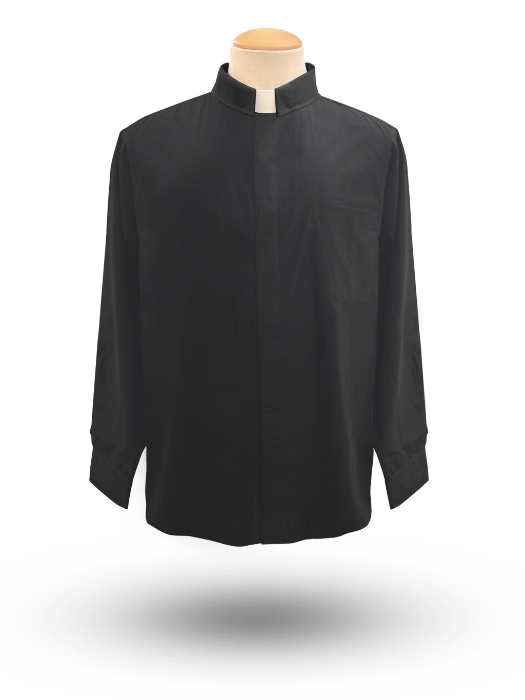 Men's Long Sleeve Tab Collar Clergy Shirt in Black