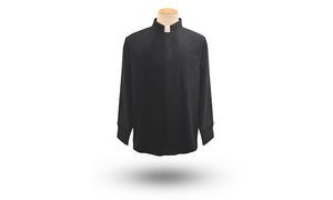 Men's Long Sleeve Tab Neck Clergy Shirt in Black