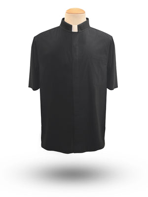 Men's Short Sleeve Tab Neck Clergy Shirt in Black